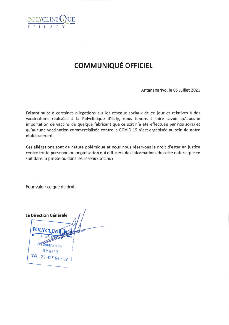 communique officiel polyclinique ilafy